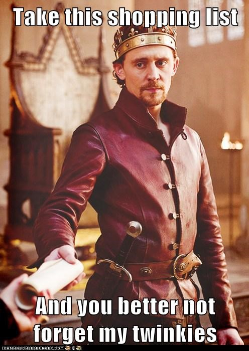 tom hiddleston,king,shopping list,henry v,twinkies