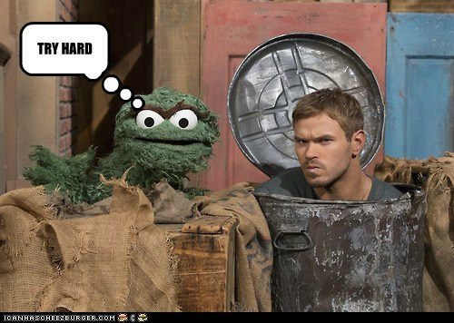 grouchy oscar the grouch Kellan Lutz Sesame Street trash can try hard - 6893120256