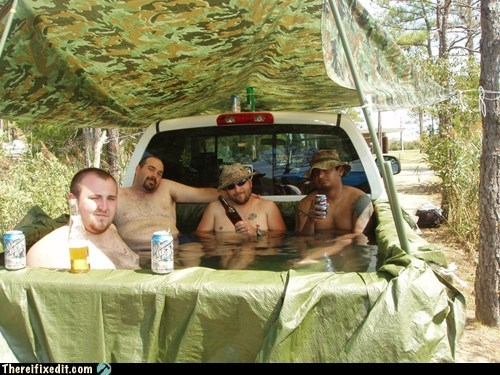 redneck relaxation,hot tub,redneck,pickup,truck bed