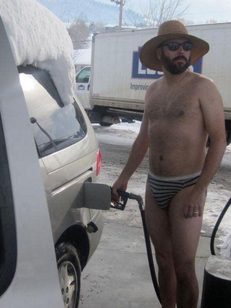 snow,pumping gas,underwear