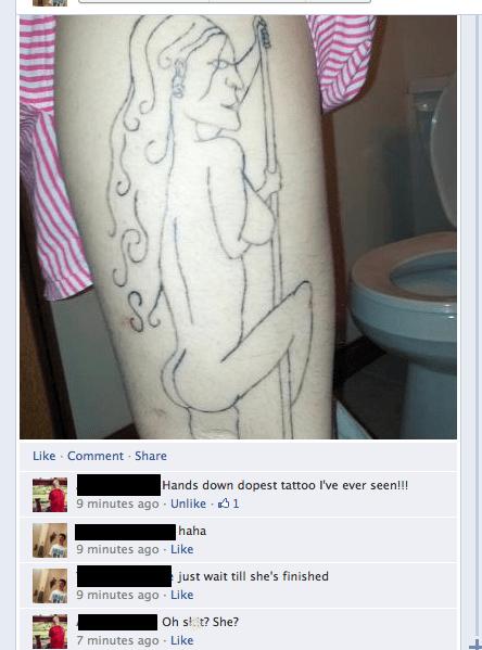 stripper,leg tattoos,Ugliest Tattoos
