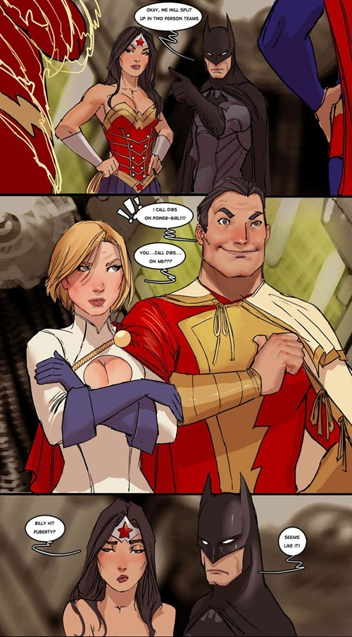 puberty art wonder woman captain marvel power girl batman - 6894051328