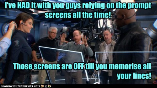 Nick Fury directing The Avengers Cobie Smulders Samuel L Jackson teleprompters lines Joss Whedon - 6894068480