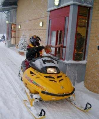 sled snowmobile drive thru restaurant winter fast food g rated win