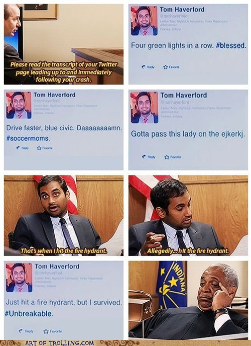 twitter parks and rec accident aziz ansari driving TV - 6894452992