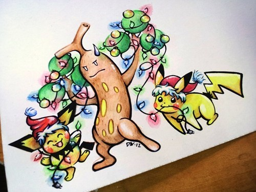 christmas,Pokémon,art,happy holidays