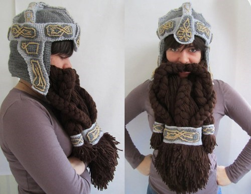 beard,Crocheted,The Hobbit,yarn,hat