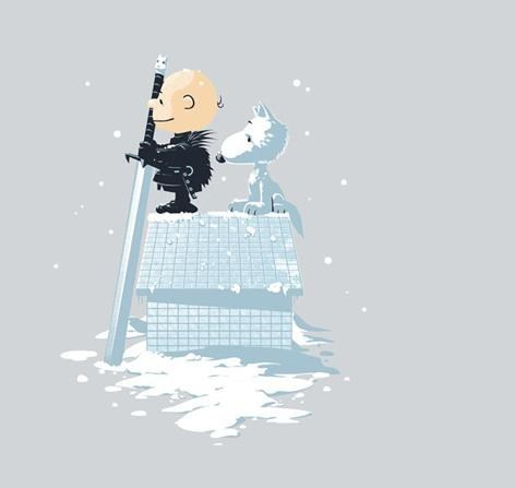Jon Snow mashup ghost peanuts Game of Thrones Fan Art snoopy charlie brown direwolf