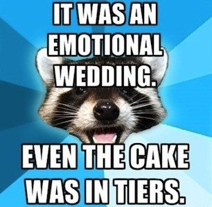 cake,Lame Pun Coon,emotional,tiers,wedding,tears,homophone,double meaning
