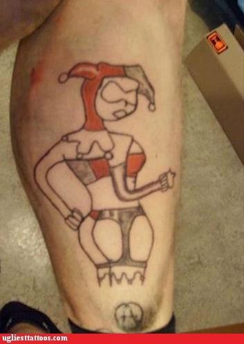 leg tattoos Harley Quinn g rated Ugliest Tattoos - 6894910464