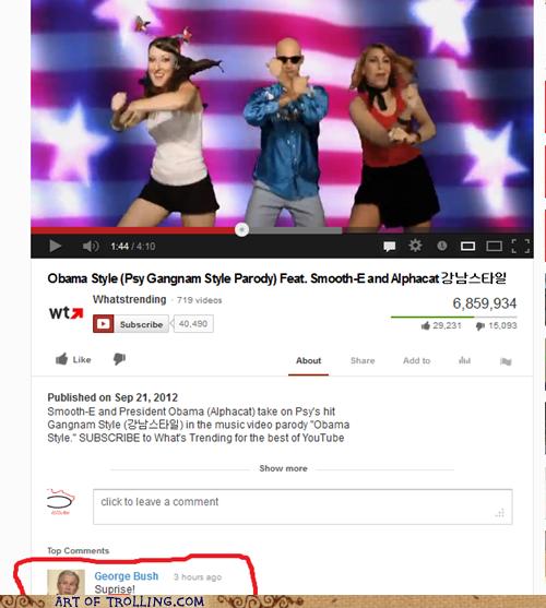 dubya,youtube,president,gangnam style,bush