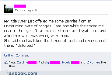 evil bastard,pringles,sister,little sister,failbook,g rated