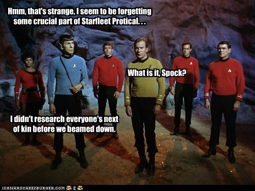 Captain Kirk scotty next of kin Spock uhura red shirts Leonard Nimoy William Shatner research Shatnerday james doohan forgot mistake Nichelle Nichols