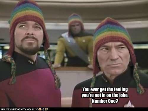 Michael Dorn hats Jonathan Frakes suspicious Star Trek joke patrick stewart - 6896449536
