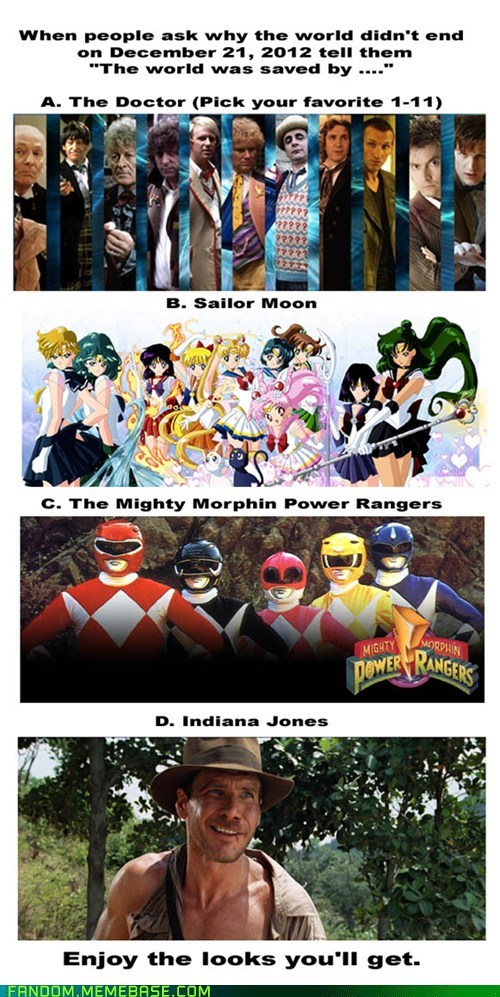 power rangers,Indiana Jones,sailor moon,apocalypse,doctor who