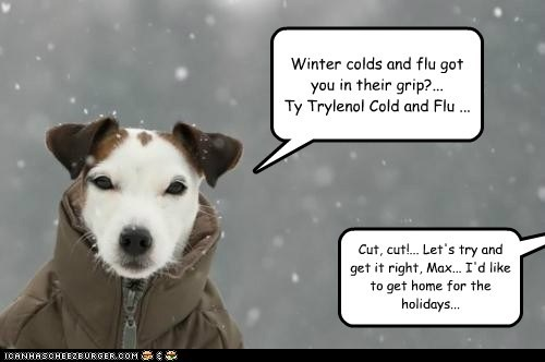 Winter colds and flu got you in their grip?... Ty Trylenol Cold and Flu ... Cut, cut!... Let's try and get it right, Max... I'd like to get home for the holidays...