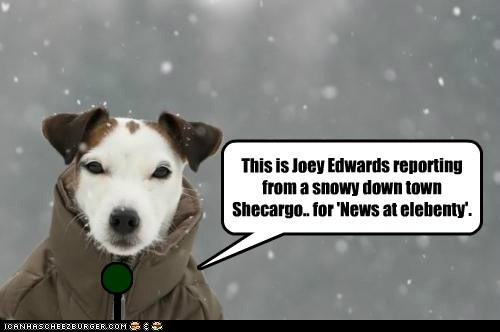 This is Joey Edwards reporting from a snowy down town Shecargo.. for 'News at elebenty'. _ n
