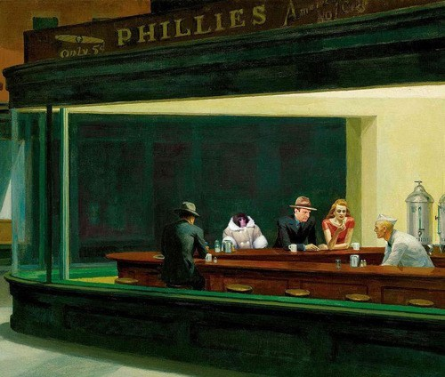 shopped pixels,ikea monkey,painting,edward hopper,i know that feel