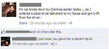 Dominoes pizza tip getting home