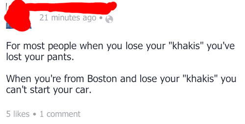 car keys,boston accent,khakis,boston