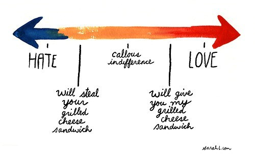 hate,indifference,love,grilled cheese