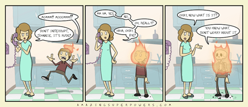 motherson,fire,phone,comic