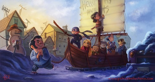 buttercup,kids,snow,the princess bride,wesley,pirate ship,Fan Art