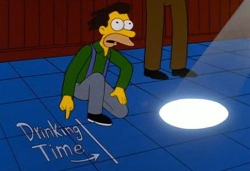 alcoholic,the simpsons,sun dial,drinking time