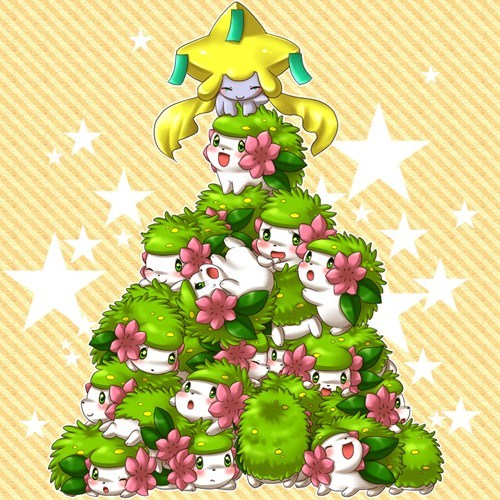 christmas,art,shaymin,christmas tree,cute