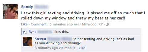 throwing beer,texting and driving,drinking and driving