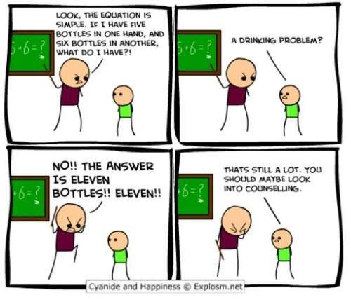 cyanide and happiness,help,math problems,bottles,drinking problem
