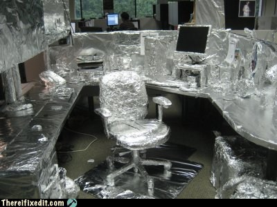 office pranks,tin foil,Office,aluminum,cubicle