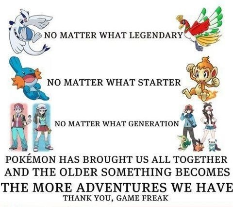 Pokémon gamer thank you Game Freak