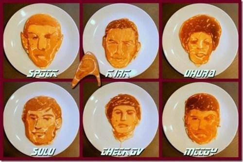 chekov,breakfast,McCoy,Spock,uhura,kirk,pancakes,Star Trek,food,sulu