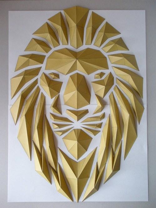 art,origami,paper,mosaic,lion