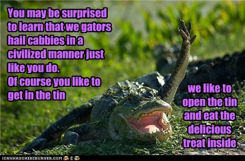 eating people aligators cans hailing raised hand - 6898725376