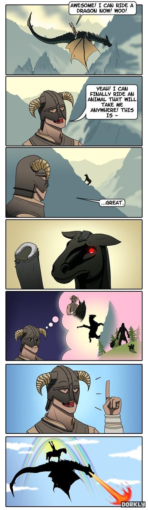 dragonborn dragons comic riding horses Skyrim - 6898763776