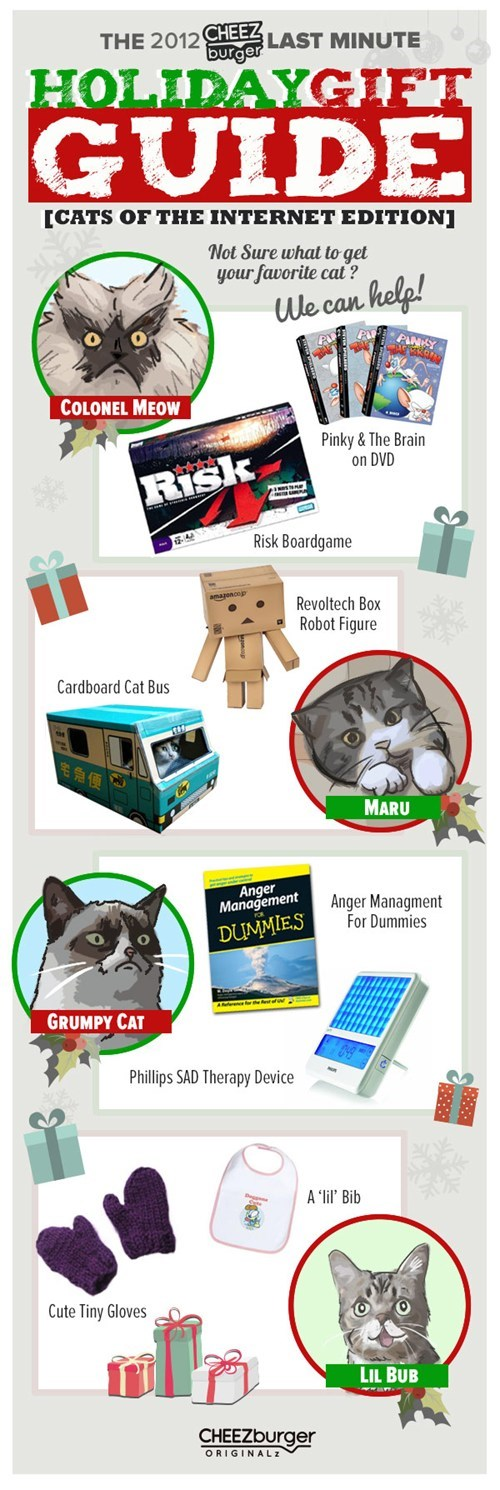 christmas,lil bub,gifts,gift guide,originals,shopping,colonel meow,maru,Grumpy Cat,tard,holidays