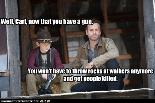 rocks,Rick Grimes,chandler riggs,zombie,walkers,Andrew Lincoln,carl grimes,gun,The Walking Dead