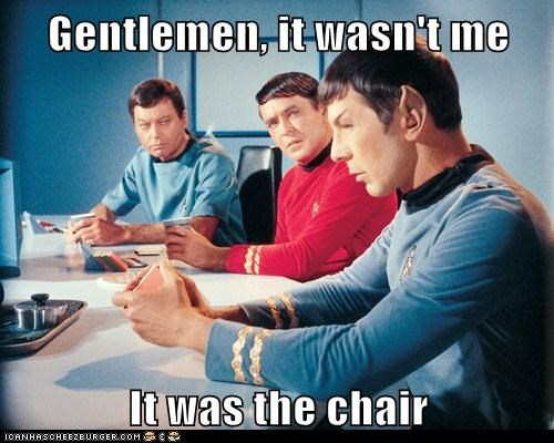 chair,scotty,McCoy,Spock,farting,DeForest Kelley,Leonard Nimoy,Star Trek,james doohan
