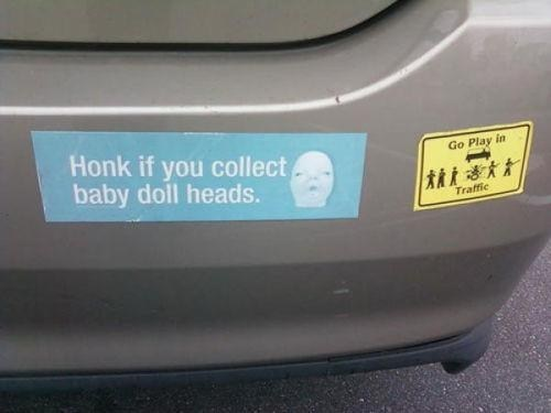 baby,honk,bumber sticker,doll head