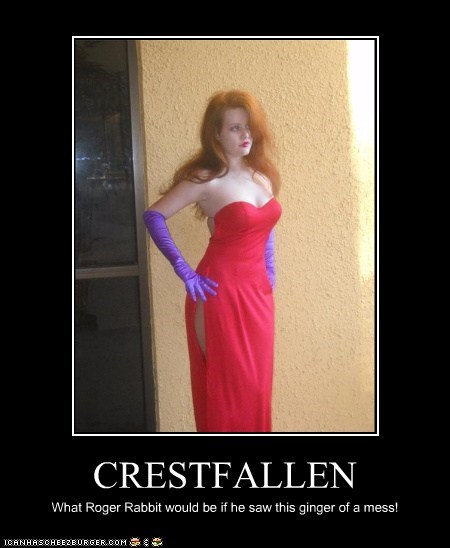 CRESTFALLEN What Roger Rabbit would be if he saw this ginger of a mess!