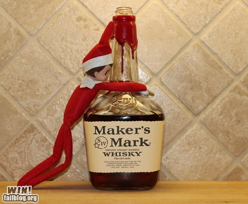 christmas,drinking,alcohol,whiskey,elf on the shelf,prank,g rated,win