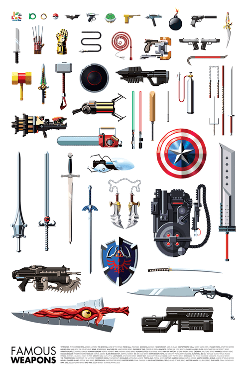 heroes,villains,weapons