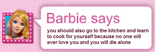 forever alone cooking Barbie Role Model kitchen