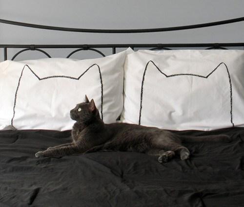 cat outline bed decor pillows sleep home - 6901519360