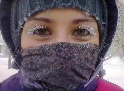 cold ice eyelashes winter
