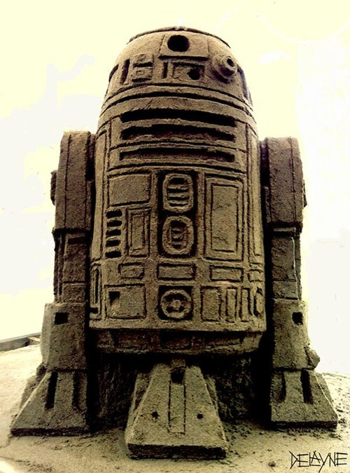 r2d2,art,star wars,sand sculpture,design,nerdgasm