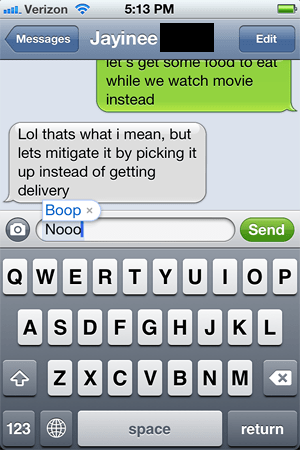 autocorrected,boop,wat r u doin,no,iphone