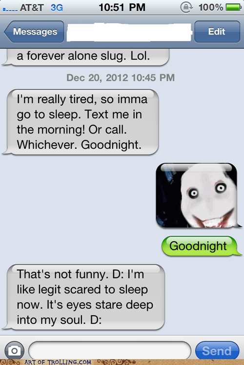 text go to sleep jeff the killer sms - 6903020544